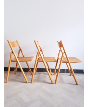 Trio de chaises cannées